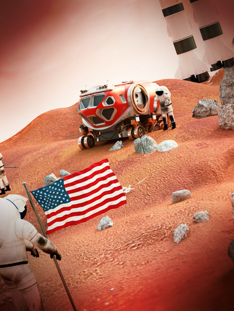 fictitious: Fictitious scene including vehicles and astronauts depicts manned Mars mission Stock Photo