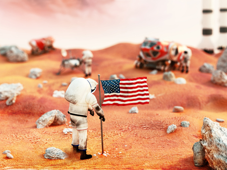 manned: Including vehicles and fictitious scene depicts astronauts manned Mars mission
