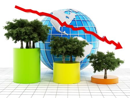 decrease: Graphic with showing the decrease of tree population on earth. Stock Photo