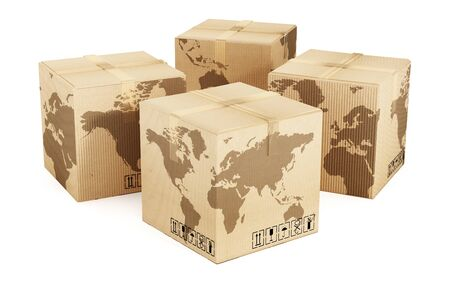 product box: Earth map on cardboard box isolated on white background