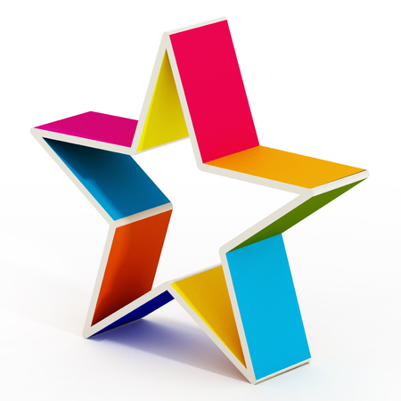 multi colored: Multi colored star shape isolated on white background. Stock Photo