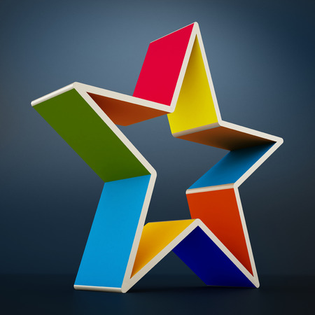 multi colored: Multi colored star shape isolated on black  background.