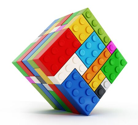Multi colored toy blocks cube isolated on white background