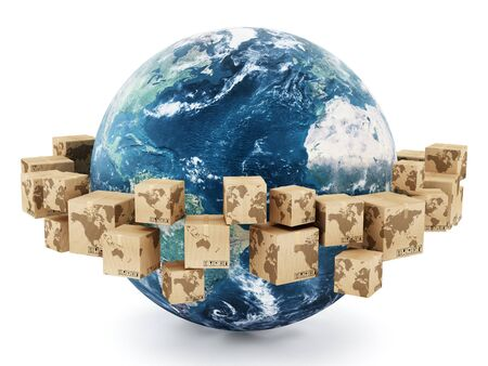 Cardboard boxes with earth map parts turning around the earth Stockfoto