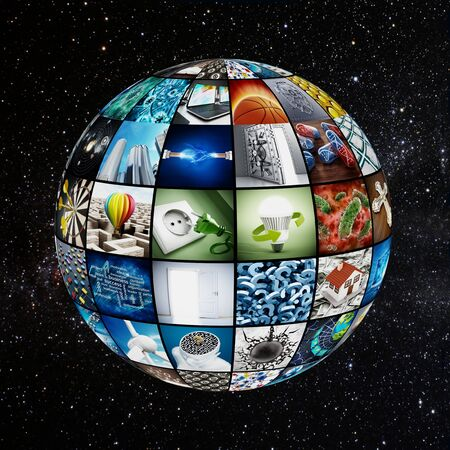 globe world: Globe covered with TV screens. Images are from my own portfolio