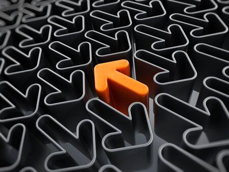 opposite arrows: Orange arrow among the gray arrows going through the opposite direction