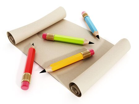 rolled paper: Multi colored pencils standing on rolled paper isolated on white background