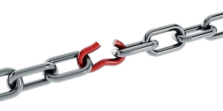 iron chain: Chain with broken red part isolated on white background