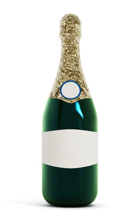 two object: Champagne bottle isolated on white background Stock Photo