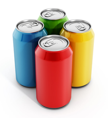 Colorful soda cans isolated on white background Archivio Fotografico