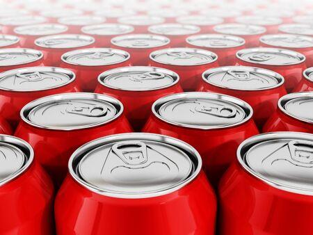 put together: Stack of arranged red soda cans put together
