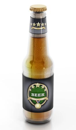 lable: Beer bottle with generic lable design isolated on white background