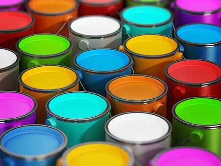 paint cans: Multi colored paint cans full of paints Stock Photo