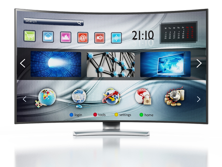 fictitious: Smart TV with fictitious interface design showing main screen Stock Photo