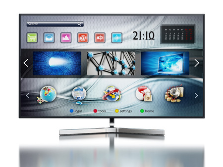 broadcasting: Smart TV with fictitious interface design showing main screen Stock Photo