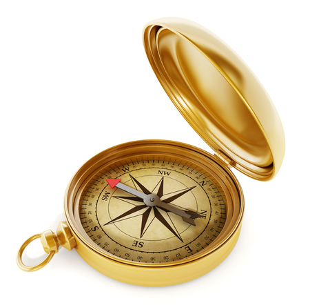 Vintage compass standing on old world map
