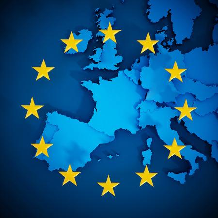 europa: Mapa de la Unión Europea y las estrellas alineadas en forma de círculo que forman una bandera.