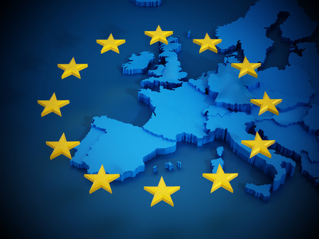 European Union map and aligned stars in circle shape forming a flag.