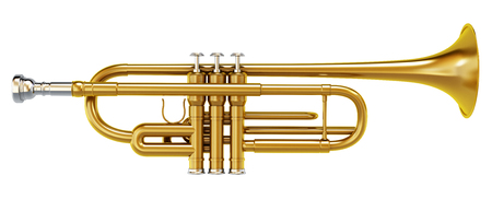 trombon: Lat�n tromb�n brillante aislado en el fondo blanco.