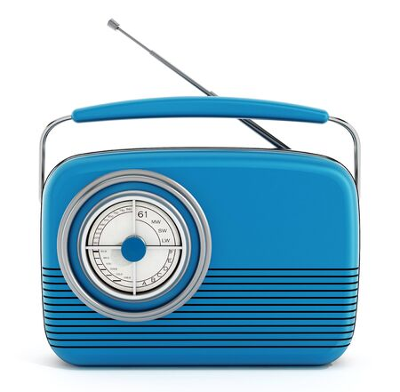 retro radio: Blue vintage radio isolated on white background