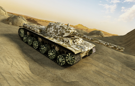 tank: Tank in camouflage moving at the desert among the sands Stock Photo