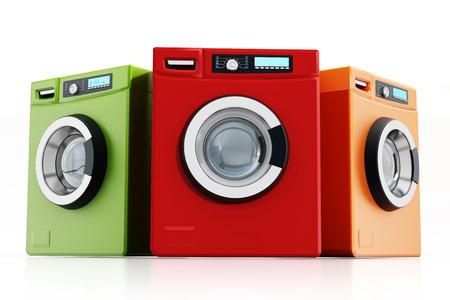 machines: Multi colored washing machines isolated on white background Stock Photo