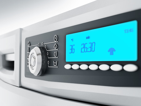 lcd display: White washing machine front panel with LCD display
