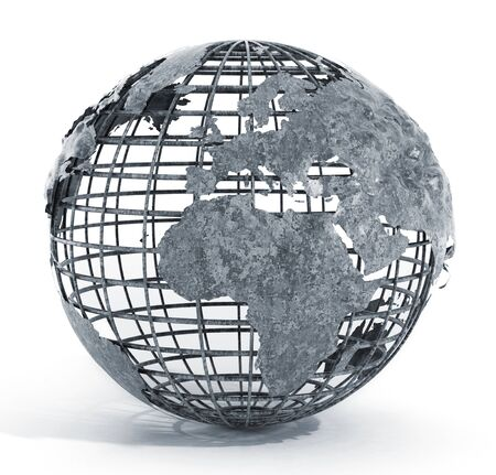 wired: Metal wired globe isolated on white background Stock Photo