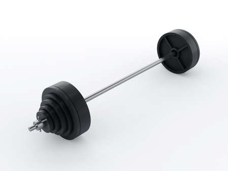 heavy: Barbell with heavy weights isolated on white background Stock Photo