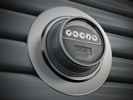 Electric meter with LCD panel hanging on the wall Banque d'images