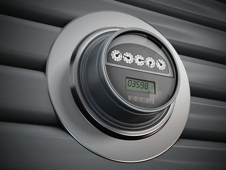 contador electrico: medidor de electricidad con el panel LCD colgado en la pared Foto de archivo