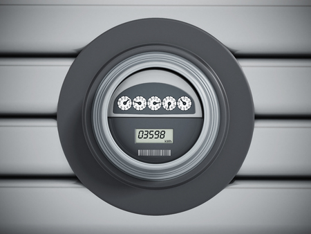 Electric meter with LCD panel hanging on the wall 스톡 콘텐츠