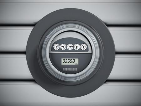 electric meter: medidor de electricidad con el panel LCD colgado en la pared Foto de archivo