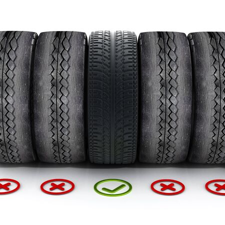 green check mark: New car tire with green check mark standing out among old tires.