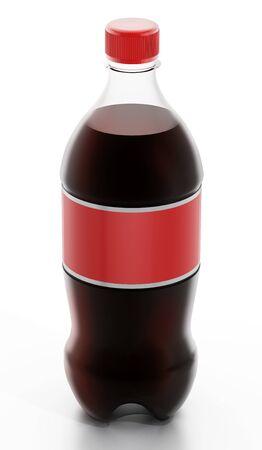 soda bottle: Soda bottle with red label isolated on white background.