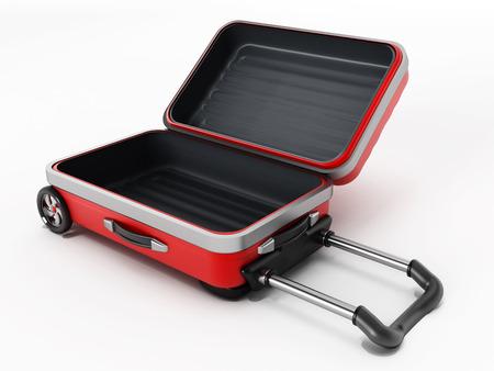 白い背景に分離されたオープンふた付き赤いスーツケース