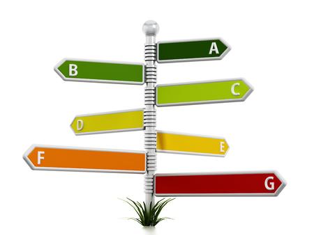 eficiencia: Energía diagrama eficacia similar a las señales de dirección aislados sobre fondo blanco.