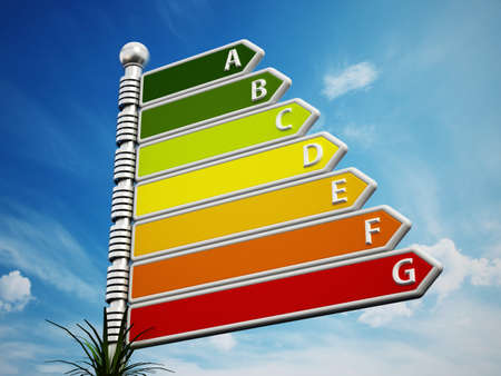 energy performance certificate: Energy efficiency chart similar to direction signs on sky background.