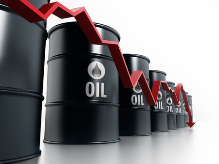 oil and gas: Black oil barrels with red arrow illustrating oil prices falling down