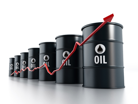 rising prices: Black oil barrels with red arrow illustrating rising oil prices