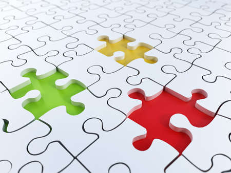 color match: Jigsaw puzzle background with green, yellow and red holes.