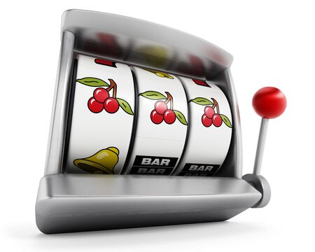 Slot machine with three cherries isolated on white background. Фото со стока
