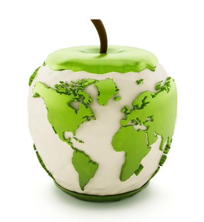 apple isolated: Earth map on half eaten green apple isolated on white background Stock Photo
