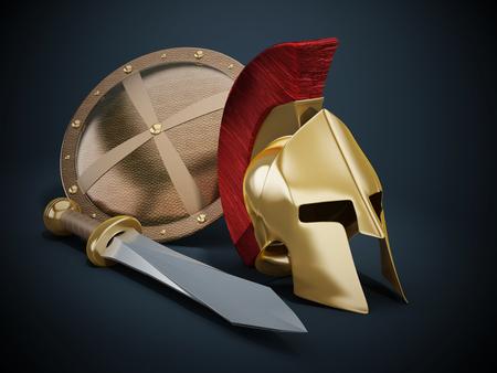 corinthian: Ancient Greek helmet, shield and sword on black background