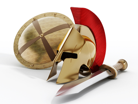 Ancient Greek helmet, shield and sword isolated on white background.