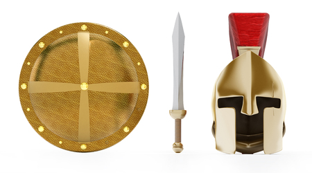 corinthian: Ancient Greek helmet, shield and sword isolated on white background.