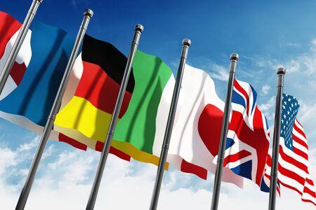 campestre: Agitando banderas de los países del G7 sobre fondo azul cielo