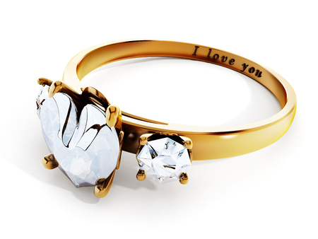 diamond shaped: Golden wedding ring with heart shaped diamond and I love you text.