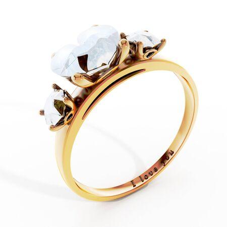 anillo de boda: anillo de bodas de oro con el diamante en forma de corazón y te amo el texto.