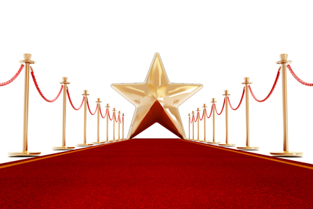 rejection: Red carpet and velvet ropes with a golden star shape at the end of the lane. Stock Photo